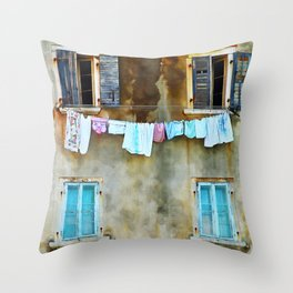 Clothes Drying Throw Pillow