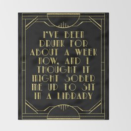 Sobering up in a library Throw Blanket
