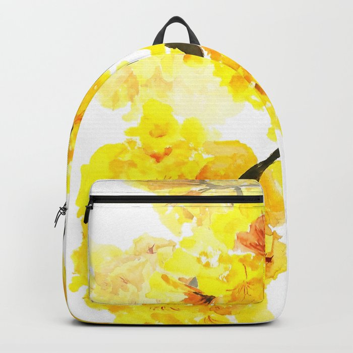 yellow trumpet trees watercolor yellow roble flowers yellow Tabebuia Backpack