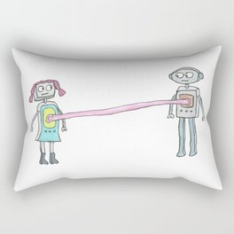 Two Robots, Stuck Together with Gum Rectangular Pillow