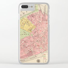 Vintage Map of Boston MA (1876) Clear iPhone Case