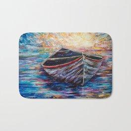 Wooden Boat at Sunrise Bath Mat