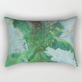 Burdock leaves and autumn herbs Rectangular Pillow