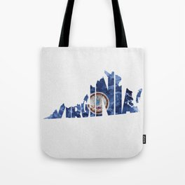 Virginia Typographic Flag Map Art Tote Bag