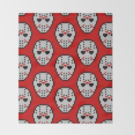 Knitted Jason hockey mask pattern Throw Blanket