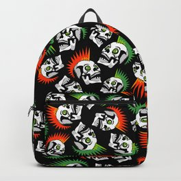 Punk skull mohawk black pattern - punk rock skulls - punk style - punks not dead - anarchy Backpack
