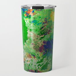 Spring Time Splatter - Abstract blue and green platter painting Travel Mug