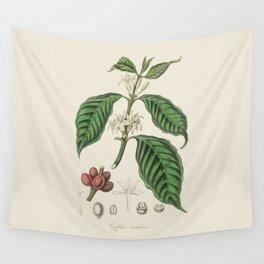 Vintage Coffee Bean Botanical Illustration Wall Tapestry