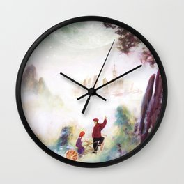 Snowy mountains of Asia Wall Clock