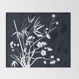 bamboo and plum flower white on black Throw Blanket