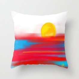 Sketchy Sun and Sea. Sunset and Sunrise Sketch Throw Pillow