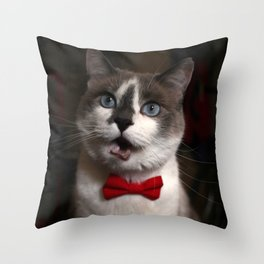 Cat in a bowtie, screaming Throw Pillow