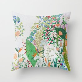 Painterly Floral Jungle on Pink and White Throw Pillow