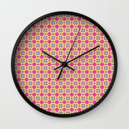 Pink Mediterranean tiles pattern Wall Clock