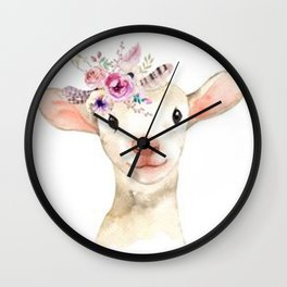 Lambsy Wears a Flower Crown Wall Clock