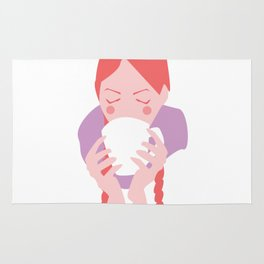 Redheaded Girl Sipping From Mug Rug