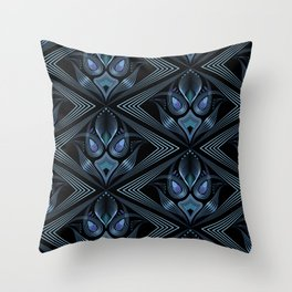Art Deco 37. Black-blue satin . Throw Pillow