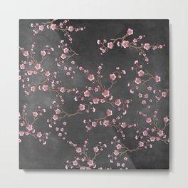 SAKURA LOVE - GRUNGE BLACK Metal Print