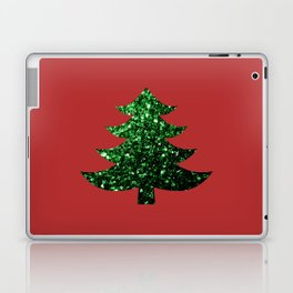 Sparkly Christmas tree green sparkles on red Laptop & iPad Skin