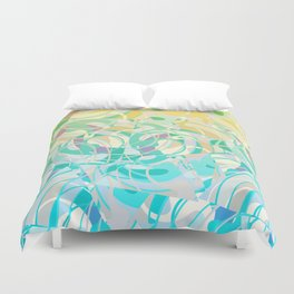 Summer Beach Days Abstract -  Yellows And Blues Duvet Cover