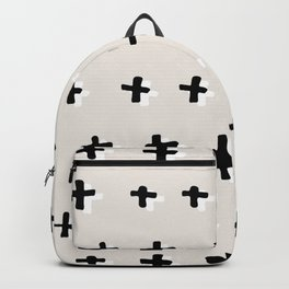 Black plus-abstract black and white pattern Backpack