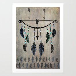 Bow, Arrow, and Feathers Art Print