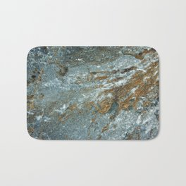 Earthy Blue and Gold Rock Bath Mat
