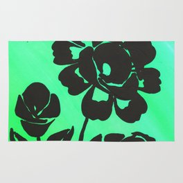 Green Silhouette Roses Varigated Background Acrylic Art Rug