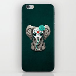 Teal Blue Day of the Dead Sugar Skull Baby Elephant iPhone Skin