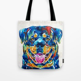 Colorful Rottie Art - Rottweiler by Sharon Cummings Tote Bag