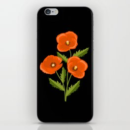 three red poppies on the black iPhone Skin