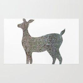deer silhouette doe bark with lichen Rug