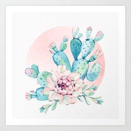 Desert Cactus Flower with Rose Gold Sun Art Print