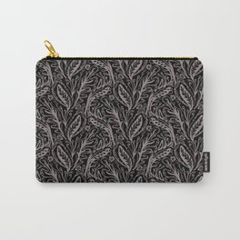 Modern Floral Leaf Nature Pattern, Monochrome Tonal Grey on Black with Linear detail Carry-All Pouch