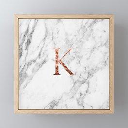Monogram rose gold marble K Framed Mini Art Print