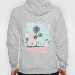 Beachfront palm tree soft pastel sunset graphic Hoody