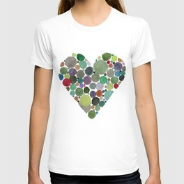 Green dots heart T-shirt