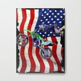High Flying Freestyle Motocross Rider & US Flag Metal Print