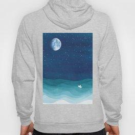 Moon Phase, teal watercolor Hoody