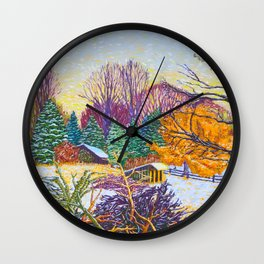 Horse Shed in Winter Wall Clock