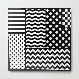 Mixed Patterns (Horizontal Stripes/Polka Dots/Wavy Stripes/Chevron/Checker) Metal Print