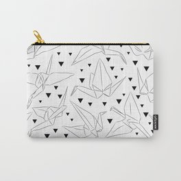Japanese Origami white paper cranes sketch, symbol of happiness, luck and longevity Carry-All Pouch