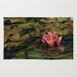 Water Lily Nestled in Magical Reflections Rug