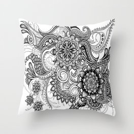 Freeform Black and White Ink Drawing Throw Pillow