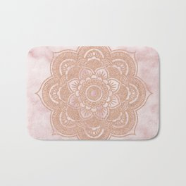 Rose gold mandala - pink marble Bath Mat