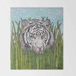 White tiger in wild grass Throw Blanket