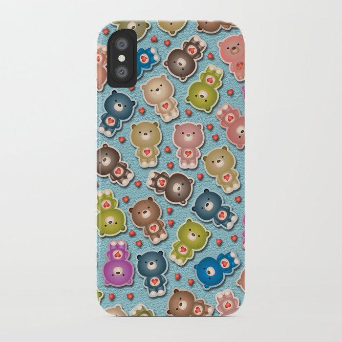 Colorful Teddy Bears Pattern iPhone Case