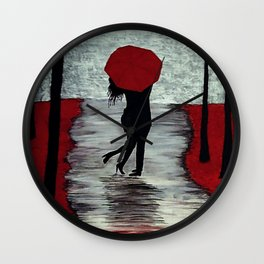 Red Autumn Rain Romance Wall Clock