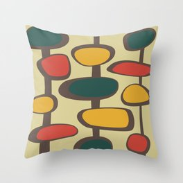 Mid Century Modern Baubles (gold) Throw Pillow