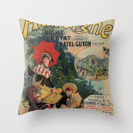 Vintage Auvergne French travel advertising Throw Pillow